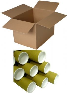 Cardboard boxes and postal tubes